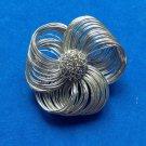 Pin, silver tone, stylized flower - vintage.