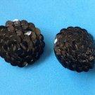 """Clip on earrings, black sequented  - 1 1/8"""" in diameter, vintage."""