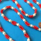 "Necklace, red, gold & white beaded . Very pretty - 32"" long."