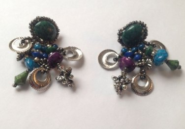 "Pierced dangle earrings 1 3/4"" x 1"" silver tone - blue, purple, green. Statement !"