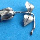 "Giovanni rose bud pin vintage silver tone  2"" x 2""."