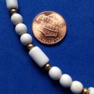 VINTAGE MONET WHITE & GOLD TONE ROUND, BARREL SHAPE BEADED CHOKER NECKLACE 16.5""