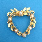 "Heart wreath pin, gold tone with white faux pearls. @ 1 1/4"" X 1 1/4"""