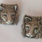 """""""JJ 1986""""pierced earrings, cougar? In the grass pewter  - @ 1"""" x 1 1/2""""."""