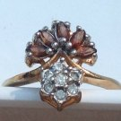 Ring,18k GEP topaz colored & clear stones -  size 6.