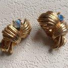Clip on earrings, Aurora Borealis & gold tone.
