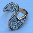 Ring size 6, 18kge. Fancy clear stone swirl design  - all stones intact.
