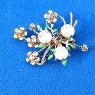 Pin - rhinestones, flower, whimsical. Vintage antique - very cute.