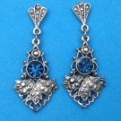 "Dangle pierced earrings, silver tone & deep blue faceted stone 1.75""."