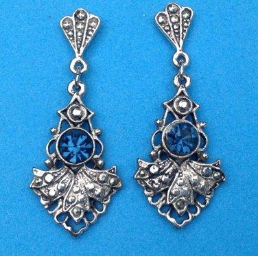 """Dangle pierced earrings, silver tone & deep blue faceted stone 1.75""""."""