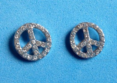 Rhinestone pierced stud earrings, peace sign silver tone   - all stones intact.