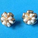 Freshwater pearl pierced earrings in gold tone - beaded flower.