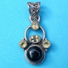 "Pendant,  sterling silver onyx & citrines  with an intricate loop - 1 1/2"" x 3/4""."