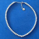 """BB Strand necklace silver tone shiny & textured 1/4"""" beads up to 18"""" long signed. """"BB""""."""