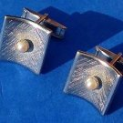 Cuff links, silver tone white pearl center  - vintage.