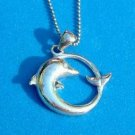 "Sterling pendant chain necklace. Sterling silver dolphin pendant 3/4"" diameter on 18.5""  chain."