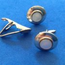 Cuff links & tie bar / clasp. Silver ton,e mother of pearl - vintage .