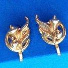 """""""Alice"""" gold tone screw on earrings"""