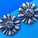 "1 1/8"" LARGE STERLING SILVER FLOWER SCREW BACK VINTAGE EARRINGS MARKED STERLING"