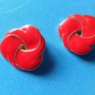 Red & gold tone clip on earrings