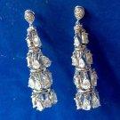Rhinestone chandelier pierced earrings - Dangling tear shape.