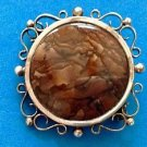 Sterling silver brown swirled stone pin - vintage piece.