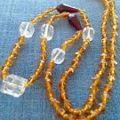 "Topaz, carved clear & deep ruby red glass bead necklace.Vintage - 28"" long w faceted beads."