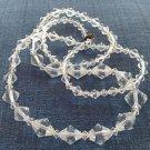"Aurora Borealis cut crystal single strand necklace. 30"" long & sparkling"