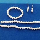 Faux white pearl set pierced dangle earrings, bracelet & necklace