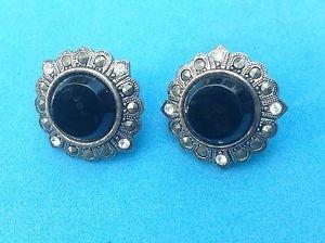 Marcasite & black centers pierced stud earrings  in silver tone