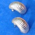 Monet shrimp pierced earrings - silver tone.