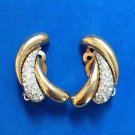 Panetta rhinestone in gold tone clip on earrings -  elegant