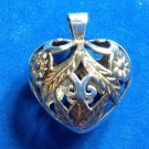 "Pendant - Sterling silver & partial gold overlay cut out heart pendant 3d ""puff"" style"