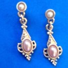 "Pearls & gold tone hanging dangle pierced earrings 1""x 3/8"""