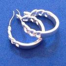 """Silver tone hinged closure hoop pierced earrings @ 1"""" diameter"""
