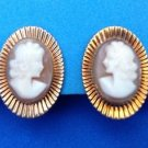 Vintage carved shell cameo screw on earrings set in gold fill.