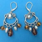 Silver tone faux white pearl & amber colored hanging beads pierced earrings.