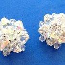 Vintage Aurora Borealis cut crystal cluster clip on earrings.