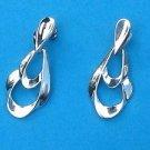 Silver tone dangling door knocker pierced earrings
