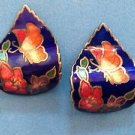 Cloisonné butterfly and flowers wavy pierced earrings - very sweet