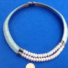 Pearl sterling silver leather necklace. New/ tag double strand 7.5 - 8mm