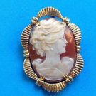 18k shell cameo pin, yellow gold - beautiful vintage piece
