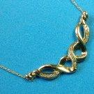 """10k gold diamond necklace. 17.5"""" long, 3.5g, 19 diamonds"""