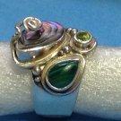 Sajen sterling silver, abalone, malachite,peridot ring - adjustable size