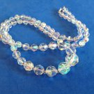"Vintage 23"" Aurora Borealis graduated colorful clear cut crystal beads necklace."