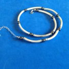 Sterling silver & hematite link & round bead necklace - different .