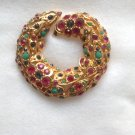 Designer Capri multi stone pin - gold tone.