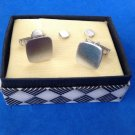 Cuff links collar stay? Set,   brushed silver tone  in original box .
