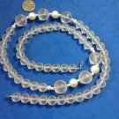 "Strand necklace, clear Lucite & faux pearl. Statement  piece, 32"" long !"