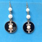 "Pierced earring, white pearl, black enamel & rhinestone.Dangling 2 1/8"" long, faux pearl."